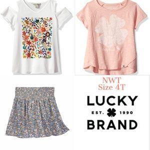 Lucky Brand Short Sleeve Top Tee Skirt Lot 4T NWT
